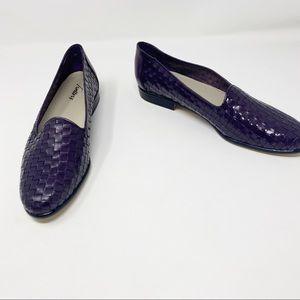 Leather Trotters Dark Purple Liz Loafer Slip Ons